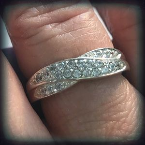925 Sterling Silver Pave Diamonique Ring Sz 7